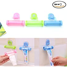 Pack Of 3 Rolling Toothpaste Squeezer and Hanger Gadget, Blue & Pink & Green