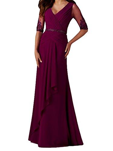 Fuchsia Damen Dunkel Abendkleider Linie Ausschnitt Rock V Brautmutterkleider A Festlichkleider Ballkleider Lang Charmant Elegant 1qwTfTZ
