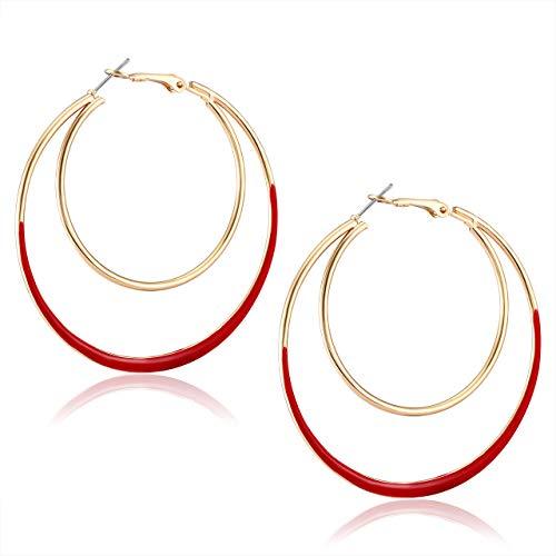 YOUMI Hoop Earrings Double Circle Statement Earring Double Oval Drop Dangle Earring for Women Girls - Earrings Red Loop
