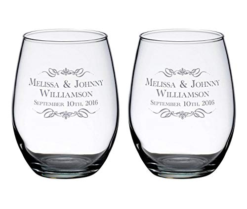 - Lillian Rose Set of 2 Personalized Wedding Stemless Wine Glasses Scroll Name Personalization