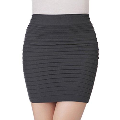 Women Skirts High Waist Elastic Pleated Short Skirt