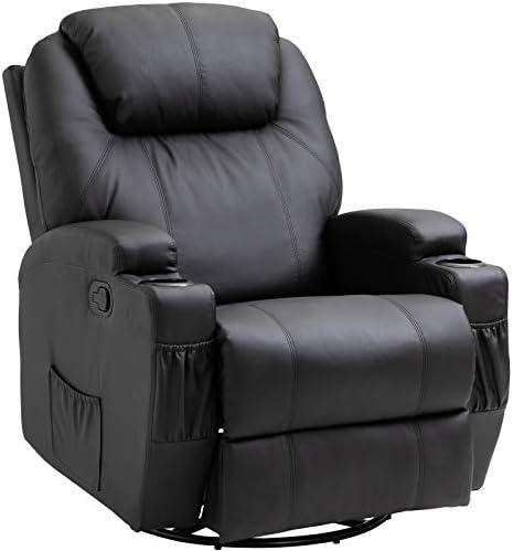 Homcom Fauteuil de Massage Relaxation électrique Chauffant inclinable pivotant 360° avec Repose Pied Ajustable PU Noir
