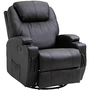 Homcom Fauteuil de Massage Relaxation électrique Chauffant inclinable pivotant 360° avec Repose-Pied Ajustable P.U Noir