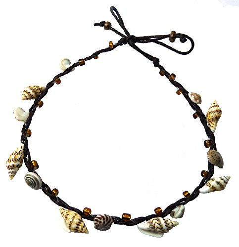BDJ Handmade Tiny Shells Cotton Cord Anklet Bracelet Free Size (Brown)