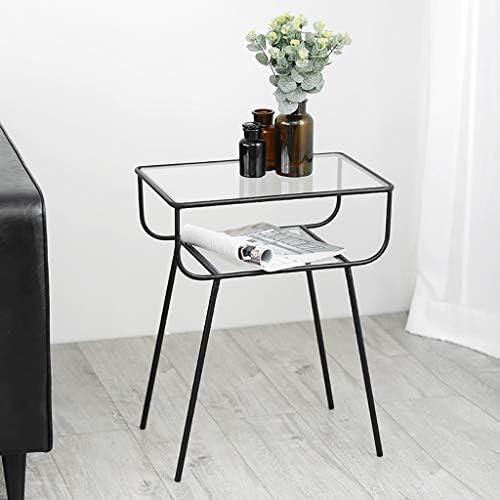 100% Origineel Saladplates-LXM tafel, bijzettafel, kleine salontafel, nachtkastje, evenwichtig glazen bijzettafel met zwart metalen frame, voor woonkamer, balkon, decoratieve  NL8BT5l