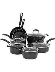 Oneida Black 12pc Forged Aluminum PFOE/PTFE free Non-Stick Induction Cookware Set. Dishwasher Safe.