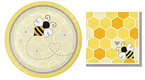 Bumblebee Baby Dessert Plates (16) and Beverage Napkin (16) Bundle (Bumble Bee Plates)
