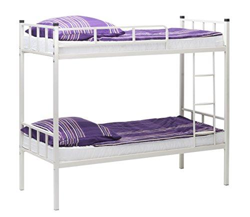 Qualitäts Etagenbett Bett aus Metall Weiß inkl. 2 x Lattenrost - EN 747:2015