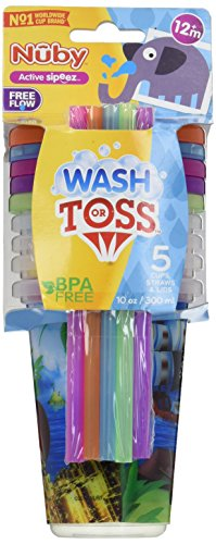 Baby Accessories - Nuby - Wash/Toss Printed Cup Straw Lids 1
