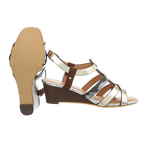 Q Compensees Or Ital Multi Chaussures Femme Sandales 19 Compensé Design Sandales xzAUwP