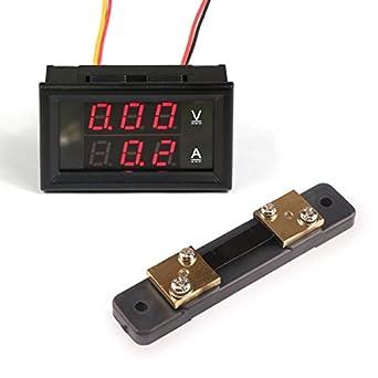 2in1 DC Voltmeter Ammeter LED Dual Digital Volt Amp Meter Red Blue 200A