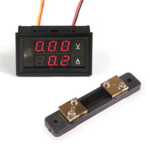 DROK Digital Voltage Current Tester Voltmeter Ammeter Multimeter DC 0-100V/50A Volt Amp 2in1 Volt Ampere Panel Meter Red/Red LED Display Amperage VA Gauge Monitor