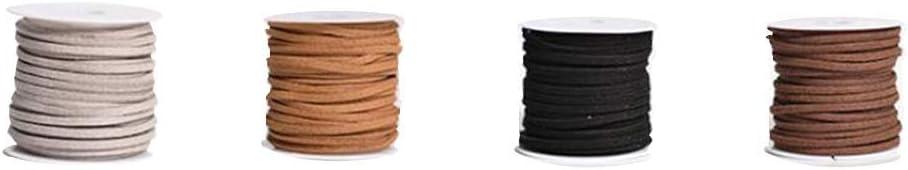 Healifty 4pcs cordoncino di cuoio string 5/m caff/è scuro, nero, chiaro e grigio