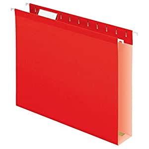 Pendaflex Extra Capacity Reinforced Hanging Folders, Letter Size, Red, 25 per Box (04152X2 RED)