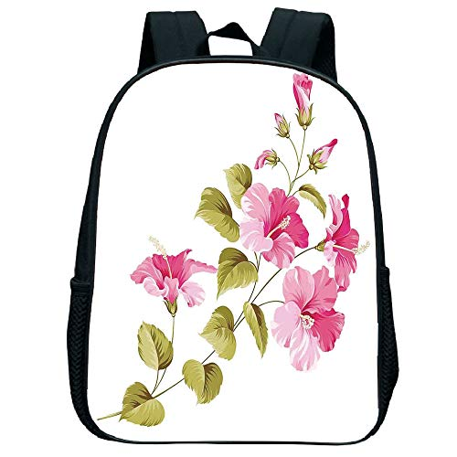 Polychromatic Optional Trumpet black knapsack,Flower House Decor,Tropic Wild Hibiscus Flower Branch with Fresh Leaves Exotic Flora Concept,Pink Green White,for Kids,Personalized Design.11.8