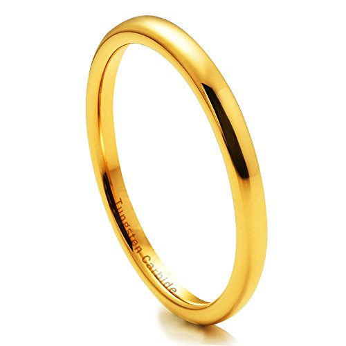 NaNa Chic Jewelry 2mm 18k Gold Plated Tungsten Carbide Ring For Women Wedding Band(6.5)
