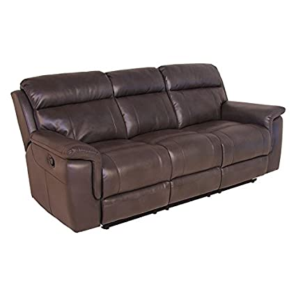Attrayant Steve Silver Dakota Faux Leather Reclining Sofa In Dark Brown