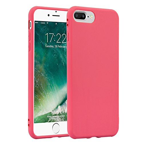 JAMMYLIZARD Phone Case for Apple iPhone 8 Plus iPhone 7 Plus Ultra Slim Silicone Jelly Back Cover, Peony Pink - Jelly Cover