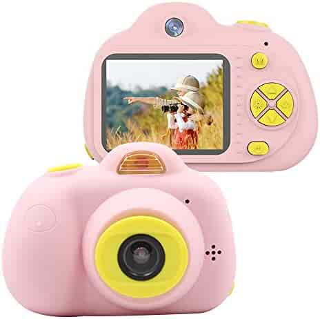 HDST Kids Camera Toys Gifts for 4~8 Years Old Girls, Shockproof Kids Video Camera & Camcorder with Soft Silicone Shell for Outdoor Play, Pink