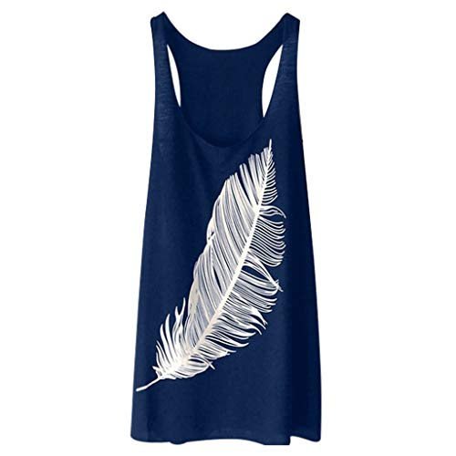 Womens Tunic Tank Tops,SMALLE◕‿◕ Women's Summer Sleeveless Feather Tank Tops Casual Graphic Tee Yoga Loose Fit Tank Tops Navy
