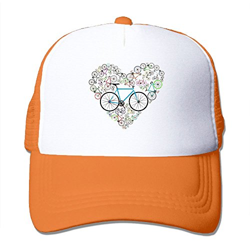 Nquqiyilu Mens I Love My Bike Classic Football Orange Mesh Caps Hats Adjustable Snapback