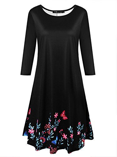 Anna Smith Ladies Tunics To Wear With Leggings, Scoop Neck A Line Pleated Flattering Tops 3 4 Sleeve Dress Shirts For Women Blouses Floral Print Soft Resilient Clothing Charcoal Black Large (Sleeve 3/4 Scoop Top Neck)