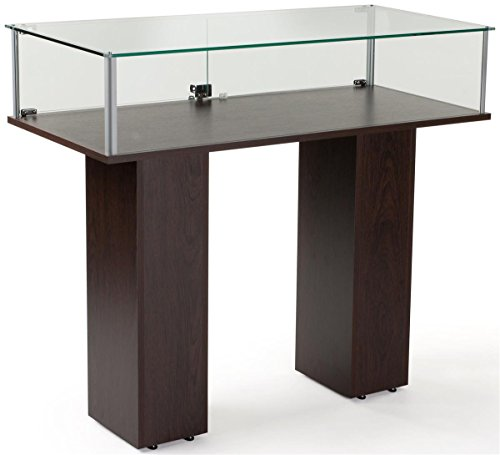 Two Locking Pedestals - Free-Standing Tempered Glass Display Case, with 2 Pedestal Style Legs And Wenge Veneer