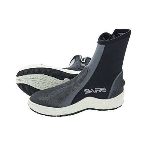 Bare 6mm Ice Heavy Duty Molded Sole Zippered Scuba Diving Booties with Durable Toe and Heel Cap (M10/W11)