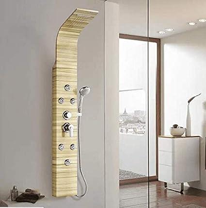 Ducha Mampara de Ducha 304 Conjunto de Ducha de Agua Caliente y fría de Acero Inoxidable Montado en la Pared Columna de Ducha Ducha de Mano Baño Ducha de baño Grifo Mezclador: