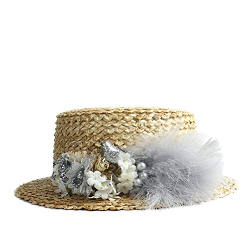 (Sun Hat Elegdy Straw Women Cap Summer Beach Firm Color Flower Feather Decoration Hat Ladies Flat Stave Head Hat (Color : Silver, Size : 56-58CM))