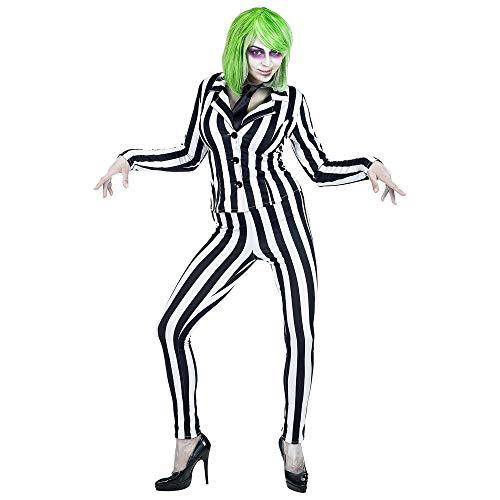 widmann 70202 Women's Costume Greasy Ghost Black / White -