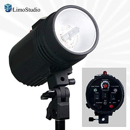 Umbrella Input Mount on Light Stand Wireless Triggering Available Test Button Professional Photography Use LimoStudio Flash Strobe Light 200 Watt AGG2485 Photo Studio Sync Cord Fuse