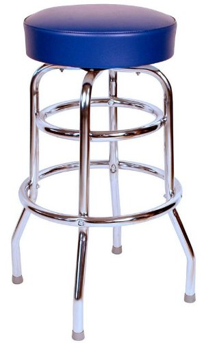 Richardson Seating 0-1952BLU Double Rung Backless Swivel Bar Stool with Chrome Frame and Seat, Blue, 30