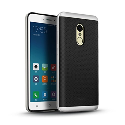 iPaky Hybrid Ultra Thin Shockproof Back + Bumper Case Cover for Xiaomi Redmi Note 4 [Indian Version]   Silver Cases   Covers