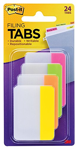 Post-it Tabs, 2 in, Solid, Assorted Bright Colors, Durable, Writable, Repositionable, Sticks Securely, Removes Cleanly, 6 Tabs/Color, 4 Colors, 24 Tabs/Pack, (686-PLOY)