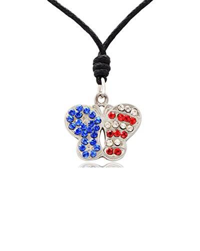 New American Butterfly FLag USA Silver Pewter Charm Necklace Pendant Jewelry (Charm Pewter Butterfly)