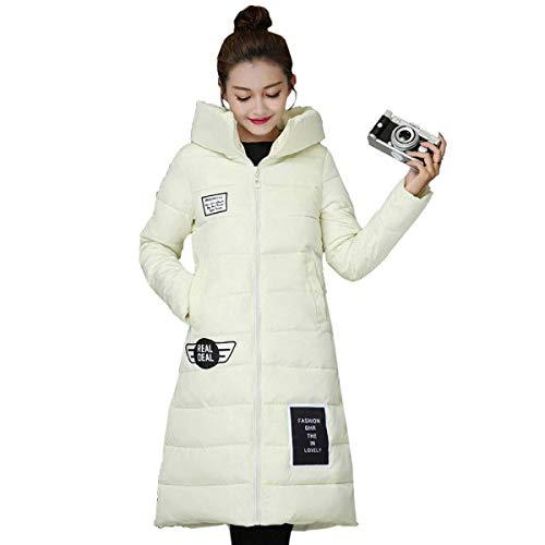Stampa Trapuntato Tasche Lettera Abbigliamento F Cappuccio Ladies Cerniera Piumino Capispalla Fashion Con Cappotto Inverno Lungo Autunno Saoye nwCqUU