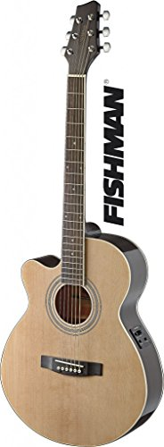 Left Handed Mini Jumbo Cutaway Acoustic-Electric Guitar with FISHMAN Preamp Electronics - Natural ()