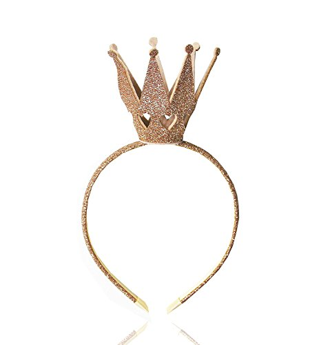 Holy KT Handcrafted Girls Toddler Kids Shiny Crown Hairband Princess Girl Crown Headband Headwraps Headwear Wedding Birthday Gift (Gold)]()