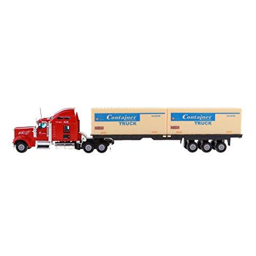 Perfk 1:48スケール 飾り コレクション ミニチュア 重型車 コンテナトラックモデル おもちゃ - ダブルコンテナキャリアの商品画像