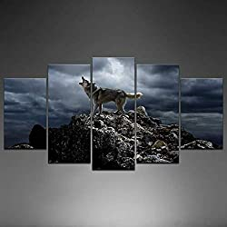 Biuteawal - 5 Piece Wall Art Painting Storm Mountain Picture Prints on Canvas Wolf Howling Poster Art Print for Home Modern Decoration Stretched and Framed Ready to Hang