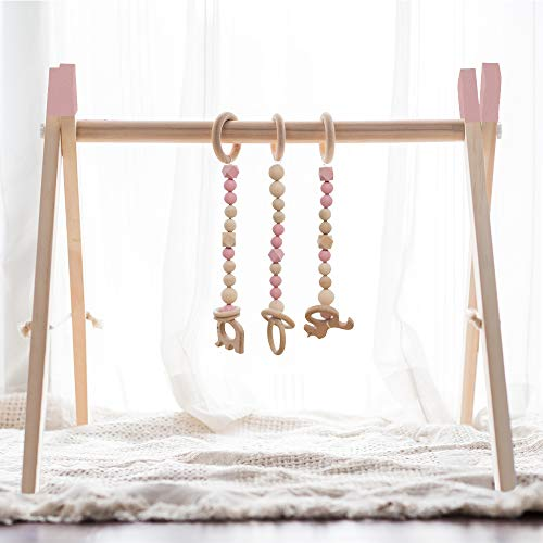 little dove Wood Baby Gym with 3 Wooden Baby Teething Toys Foldable Play Gym Frame Activity Gym Hanging Bar Newborn Gift Baby Girl Boy Gym Montessori Toy Top Pink