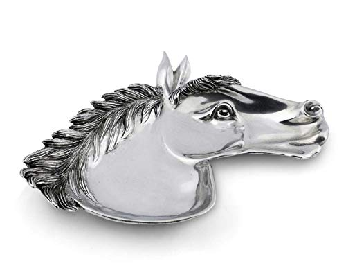 """Vagabond House Pewter Horse Head Catchall Tray 8.5"""" Wide x 7"""" Long"""