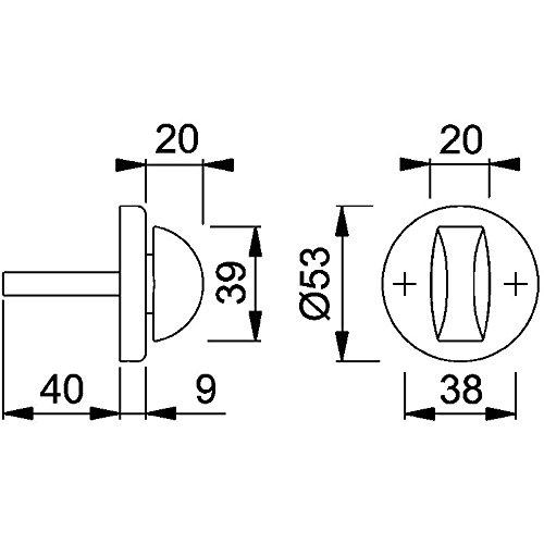 Aluminium 8 X 40 HOPPE 6988513 Drehknopf f/ür T/ürspalt-Sicherung