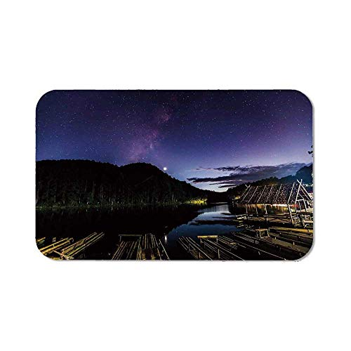 (Space Ordinary Mouse Pad,Disk Shaped Structured Hazy Band Milky Way Projection Over A Forest Space Constellation for Computers Laptop Office & Home,11.81''Wx27.56''Lx0.08''H)