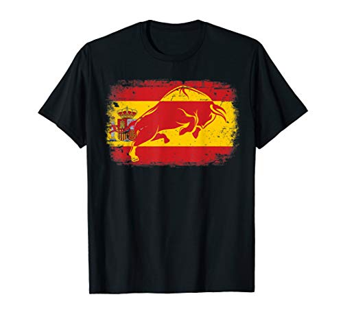 Spain T-shirt Flag - Spanish Flag T-shirt, Bull Flag Spain, Espana by Zany Brainy
