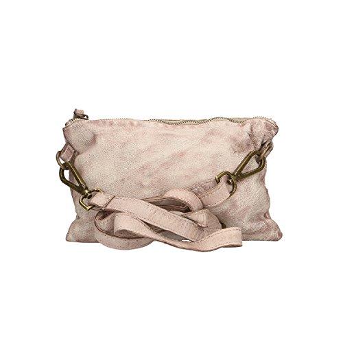Chicca Borse Pochette en piel genuina en piel genuina 27x18x2 Cm ceniza blanca