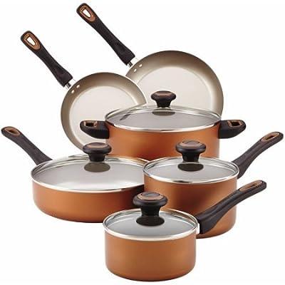 Farberware Dishwasher Safe High Performance Nonstick 15-Piece Cookware Set, Copper