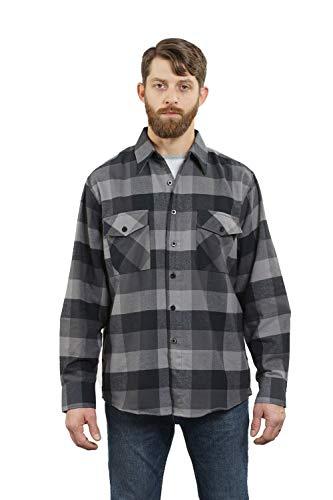 YAGO Men's Long Sleeve Flannel Plaid Button Down Shirt Navy/Gray, Medium