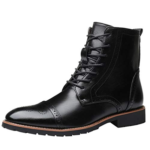 Boot Boots Tip Cowboy (ONLY TOP Men's Wingtip Oxford Boots Chukka-Lace-Up Zip Boots Ankle Dress Boots Work Combat Hike Black)